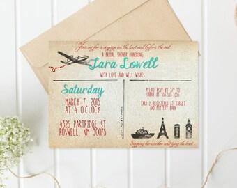 Bridal Shower Invitation, Postcard Bridal Shower Invitation, Travel Bridal Shower, Printable Shower Invite, Vintage Bridal Shower [150]
