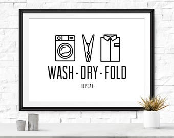 Wash Dry Fold, Laundry room decor, Laundry room, Printable poster, Laundry reminder, Minimal art, Laundry wall sign, Modern wall art