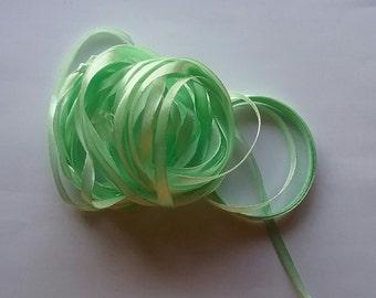 """1/4"""" or 6mm Mint Green Satin Ribbon"""