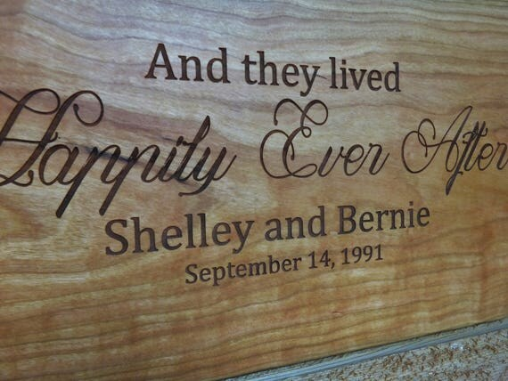 And They Live Happily Every After Cutting Board Engraved with Names and Wedding Date in Maple, Walnut, Cherry and White Oak Wood