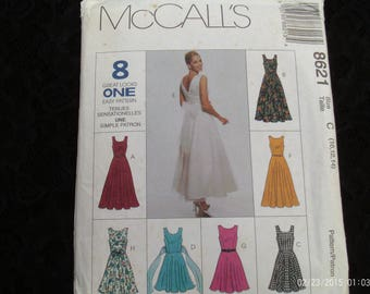 McCall's Sewing Pattern 8621 Misses' Sleeveless Dress - 8 Styles,Size C 10,12,14, 1990's Dress Pattern,Casual Dress Wear,Easter Dress,Sewing