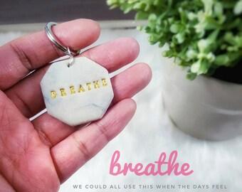 Breathe : Small Air dry clay keyring - zipper pull - keychain