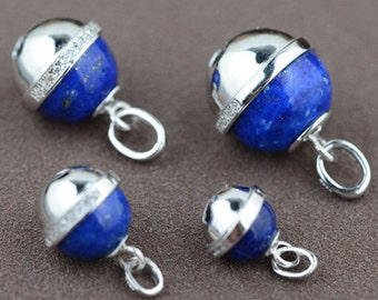 925 sterling silver jewelry classical style natural lapis lazuli bell ball pendant for women