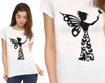 Butterfly Girl, Cute Shirt, T-Shirts, Gift For Her, Custom Shirt, Heat Transfer Vinyl