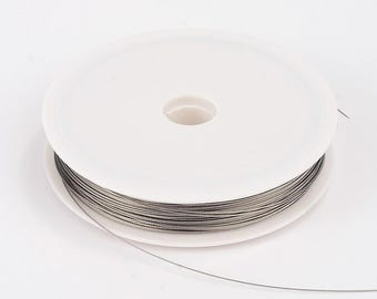 Tiger Tail Wire Spool, Stainless Wire, Light Grey, .45mm; 50m/roll Beading Wire