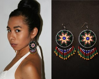 Eight Pointed Star Earrings, Native American Beaded Earrings, Beaded Boho Earrings, Native American 8 Pointed Star Earrings, Tribal Earrings