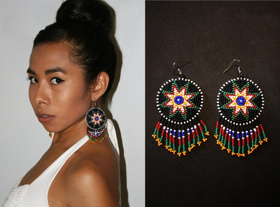 Eight Pointed Star Earrings, Native American Style Beaded Earrings, Beaded Boho Earrings, Native American Style 8 Pointed Star Earrings