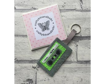 Retro cassette keyring, cassette keyring, 1980s, 1970s, fathers day, mothers day, gifts for him, gifts for her