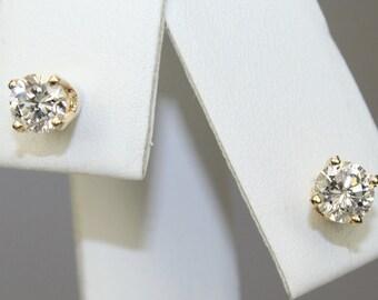 Vintage 14K Yellow Gold Round Natural Diamond Stud Earrings 0.32 Carat + 0.34 Carat Studs c1980s