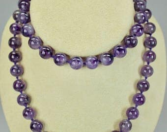 "Vintage 32"" Length Amethyst Bead Necklace Hand Knotted 12mm Amethyst Beads"