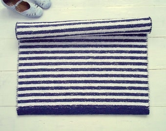 Nautical Navy White Rug, Striped Cotton Rug, Scandinavian Rug, Handmade Rug, Washable Rug, Woven on the Loom, Made to Order