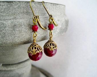 Ohrringe Achat weinrot vintage Earrings agate burgundy vintage darkred dangles antique earrings bronze