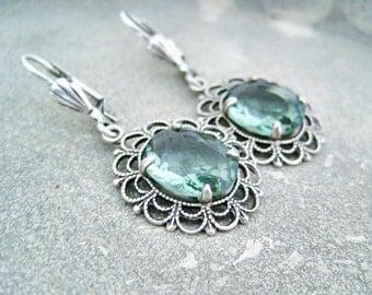 Earrings aqua vintage turquoise dangles antiqued silver prong setting earrings teal rhinestone