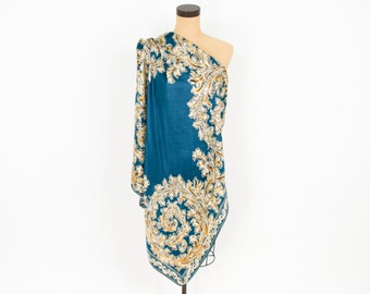 Blue Green Silk Paisley Scarf