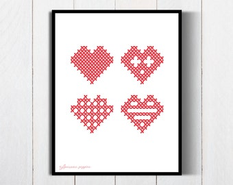 Happy Valentine's day|Printable Valentine Poster|Cross Stitch Heart Poster|Romantic Heart|Printable Heart Art|Hearts Poster|Valentine Poster
