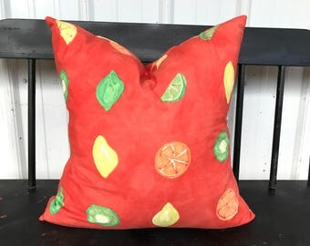 Pillow cover 18X18 fruit theme red orange Decorative Throw Pillow