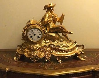 1850's 24K GOLD PLATED  French mantel clock
