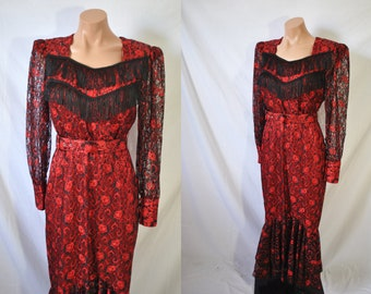Vintage 80s Red Lace Western Dress Quirky Prom Dress Square Dance Party Dress Sheer Sleeves Formal Bodycon Gown Long Belted Cowgirl Dress