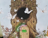 Fairy Door Large Personalised Greeting card, Garden Fairies Tree 3D Birthday card, Stunning card with Fairies at the bottom of the garden