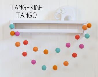 Felt ball garland - Wool ball garland - Nursery decor - Pom pom garland - Baby decor  - Baby room decor - Tropical garland - Baby shower dec