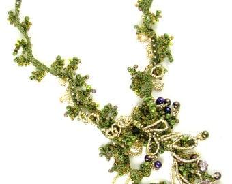 Olive Boa Bead Crochet Necklace Kit by Ann Benson