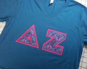 Delta Zeta Letter V-Neck Shirts