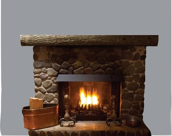 Rustic Fireplace PHOTO TEX Removable Cling Wall Decor