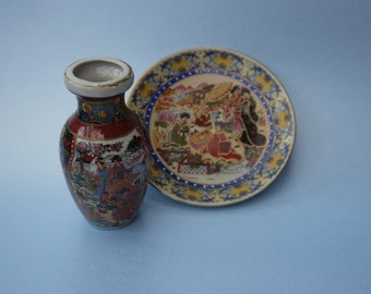 Attractive small japanese beaded vase and pin dishX