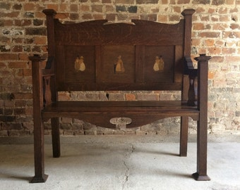 Antique Arts & Crafts Settle Bench Victorian 19th Century Inlaid Liberty Style