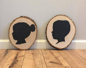 Children's Silhouette on Wood Circle, Hand-Painted Black