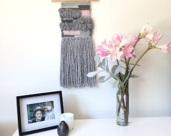 Wall Weaving   Wall Hanging   Wall Art   Weave   Handwoven in greys, blush and touch of silver metallic