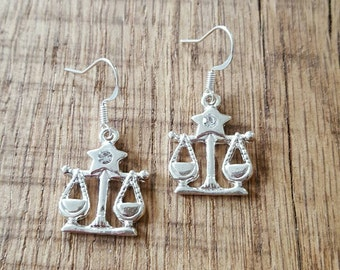 Libra earrings, Libra jewelry, gift for her, Scales earrings, Zodiac earrings, gift for mom, Scales jewelry, birthday gift, zodiac jewelry