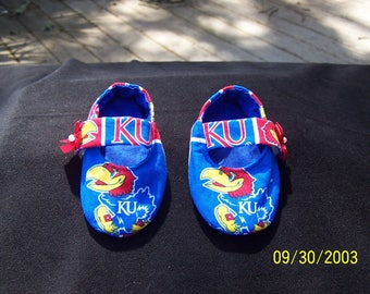 Girls Mary-Jane Style University of Kansas Baby Booties