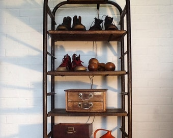 Sold to Nick Bailey - Unique 1900's French Bakers Metal/Wood Shelving Unit