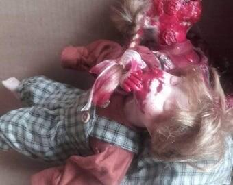 Pair of zombie dolls undead horror  creepy porcelian china art doll ooak