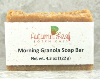 Morning granola soap bar, Cold Process Soap, Hand milled Soap, almond, oatmeal soap, honey soap, palm free soap, handcrafted artisan soap