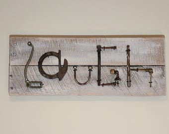 Sign - LAUGH Wall Sign - Made from Recycled Pallet Wood and Old Rusty Tools - Wall Hanging - Art