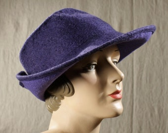 Wide Brimmed 1940's Style Hat in Tanzanite Blue Felted Wool w/Buttoned Back - Tanzanite Blue Wool Hat - Hand Felted Wool