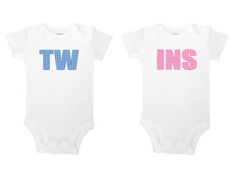 TWINS Cute Polka Dot Twin Baby Boy and Girl One Pieces