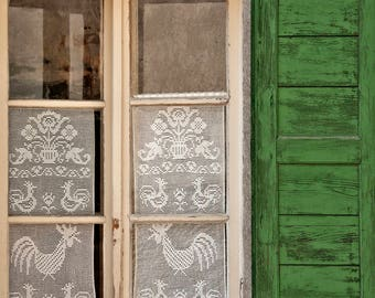 Handmade Lace Curtains and Bright Green Shudders in a Swiss town photo, Switzerland photography, Swiss town photo, Charming Switzerland