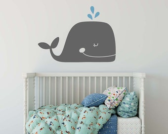 Whale Wall Decal - Nursery Decal, Vinyl Wall Decal, Beach Decal, Cute Wall Decor, Nautical Nursery, Multicolored Decal
