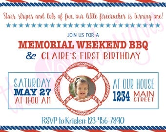 RESERVED-- BBQ and Birthday Party Invitation