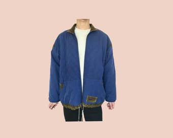 blue quilted nike jacket with corduroy collar // vintage nike // womens L or mens M