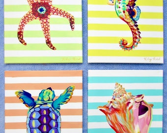 Colorful Striped Sea Creatures/ Set of 4 (12×16) by Kelsey Rowland- seahorse art starfish painting conch shell art sea turtle beach decor