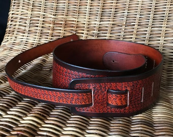 Handmade Leather Guitar Belt - Leather Guitar Strap - Brown and Saddle Tan - Hand tooled pattern