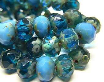Blue Czech Glass Rondelle Beads with Picasso, Faceted Czech Glass Rondelles, Mixed Blue Colors Glass Donut Beads, 5x7mm - 25 beads (RON-74)
