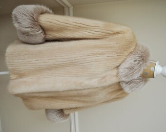 Beautiful Genuine and Elegant Mink & Fox Fur Coat Jacket, Size M
