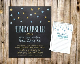 Digital TIME CAPSULE SIGN and Cards, Boy 1st Birthday Time Capsule Message, Blue Gold Twinkle Little Star, Printable Shower Dear Baby Cards