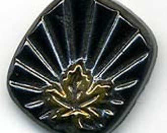 Molded Glass Maple Leaf and Starburst Stone. 14x16mm. Pkg of 1. b5-0300(e)