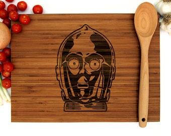Star Wars Cutting Board, C-3PO Cutting Board, Cutting Board, Anniversary Gift, Wedding Gift, Groomsmen Gift, Chef Gift